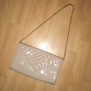 Aldo nude tan patent leather studded clutch purse